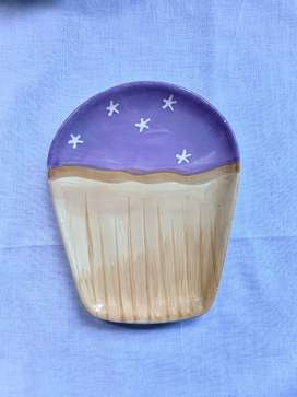 Purple Cup Cake Shaped Plate