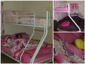 Double Bunk + Mattresses + All matching Bedding sets and Curtains