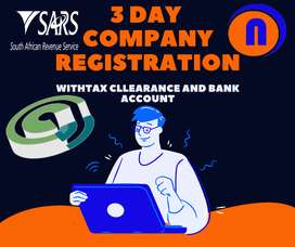 3 days Company Registration with FNB business accounts and tax