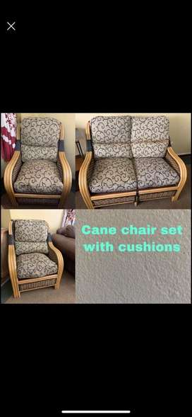 Cane chairs with pillows