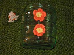 Стеклянная емкость для цветов и прочего.кашпо вазон